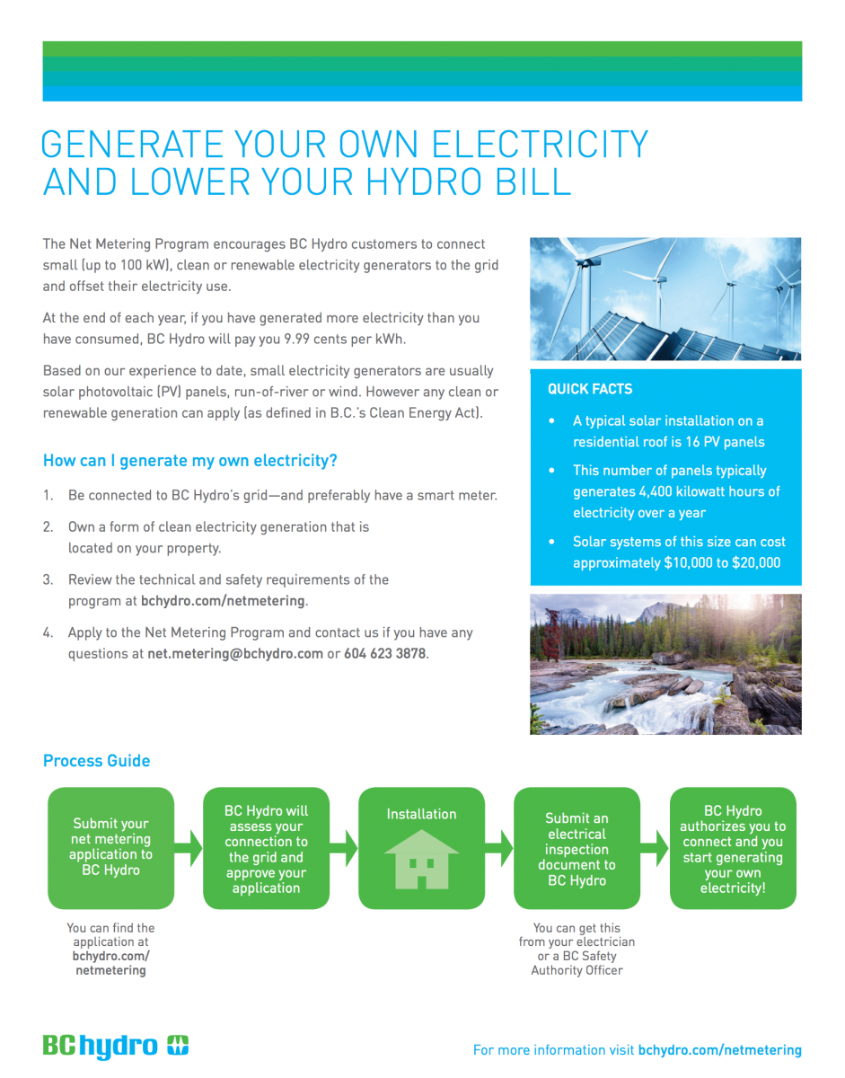 Net Metering: generate your own electricity to lower your hydro bill